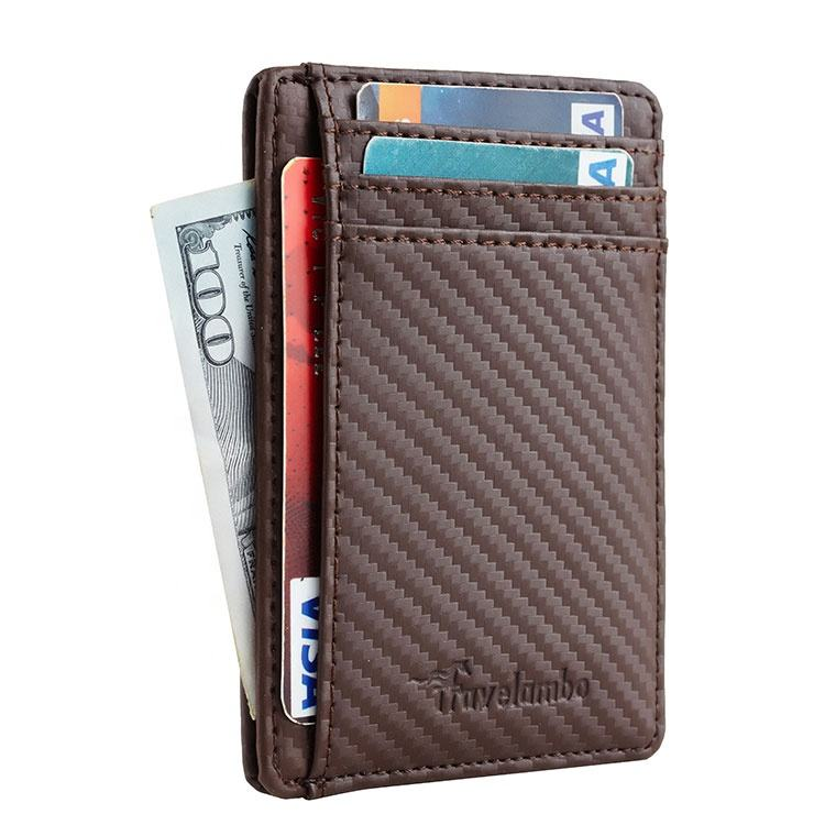 Front Pocket Wallet Carbon Fiber Texture Coffee Bus Card Holder For Business