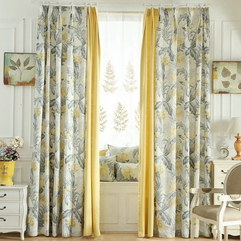 Hot Selling Floral Printed Split Joint Linen Fabric Eyelet Splicing Window Blackout Curtains For Living Room Bedroom