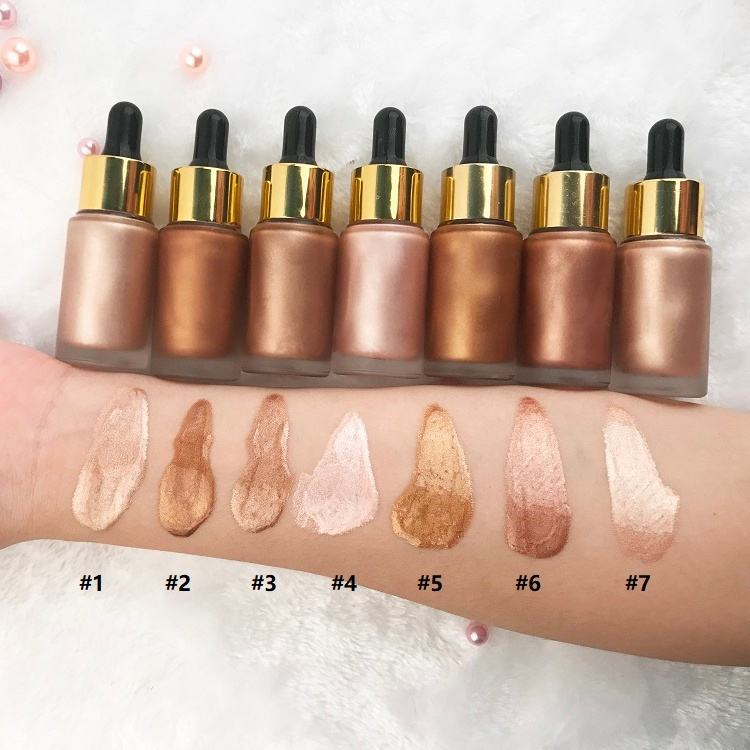 Wholesale Private Label NO LOGO 7 Colors 20ml Liquid Highlighter Makeup
