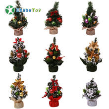 Decorated Artificial Plastic Mini Table Top Christmas Tree hand made home ornament indoor decoration supplies lighted Christmas