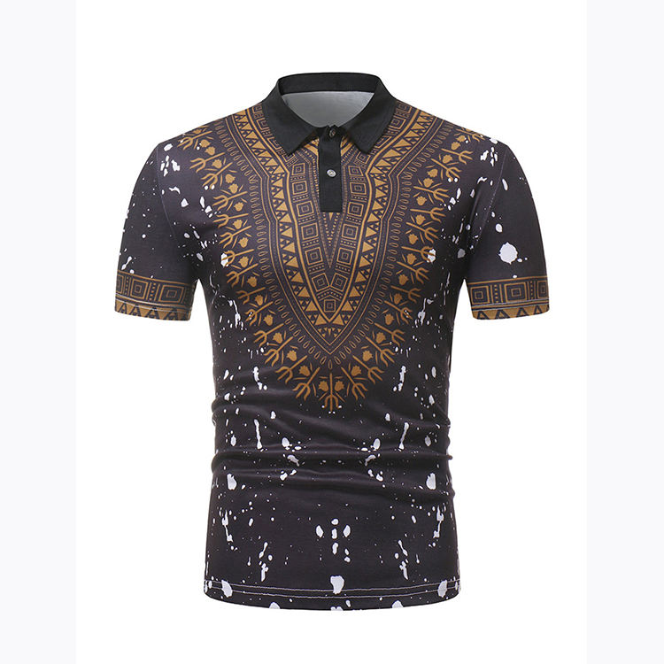 Summer Short Sleeve African Indian National Costume Fashion Print Men'S Shirts