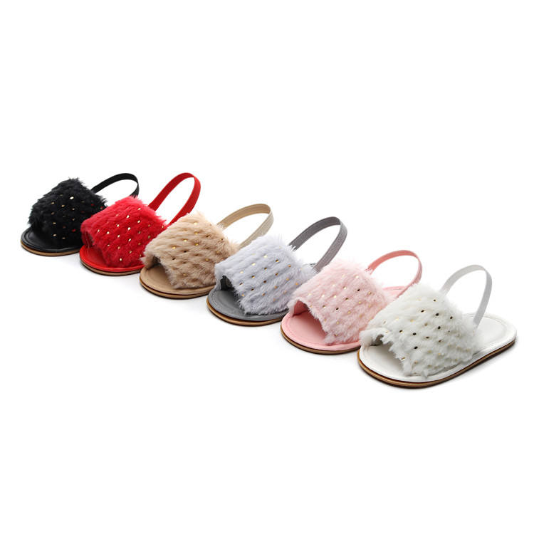 2019 New Sequin Infant Baby Sandals Slippers Faux Fur Baby Summer Shoes Hard Sole Toddler Girls Boys Sandals