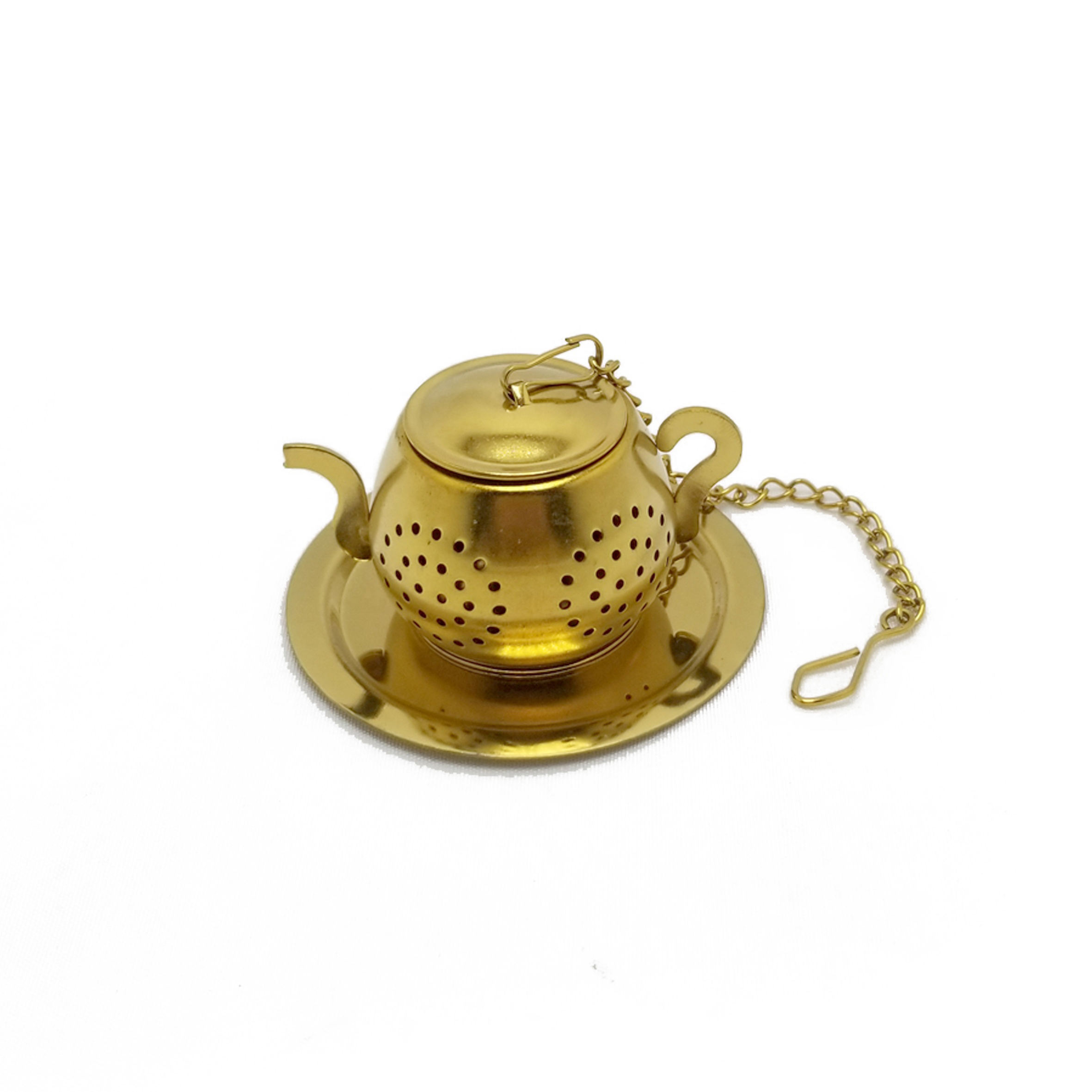 Stainless steel titanium gold plating teapot tea infuser tea ball with chain