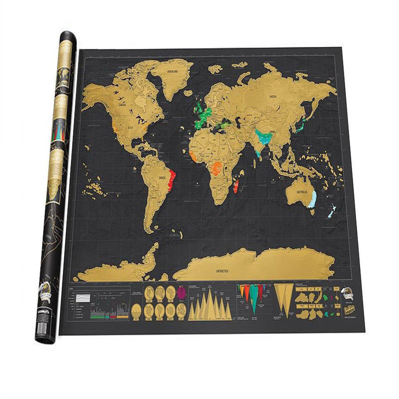 Good Design 1Piece Deluxe Black Scratch Off World Map 82.5X59.4センチメートルBlack Map Scratch With Cylinder Packing Room Decoration Wall