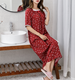 Women model robe printed cotton lady pajamas loose rayon night gown female leisure wear