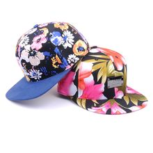 Custom Metal Label Cotton Printed Floral Flower Cap Snapbacks