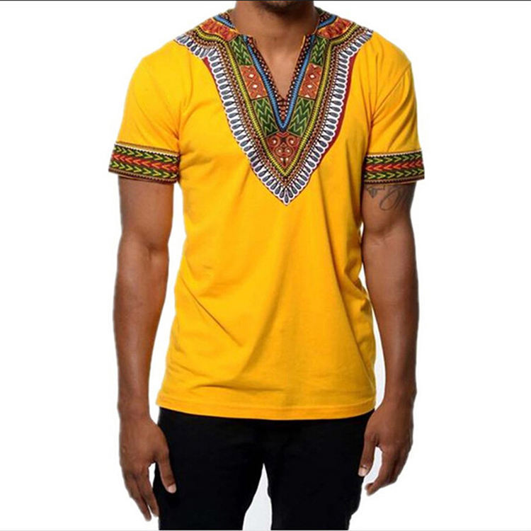 Feelingirl 2019 Summer New Tops Fashion V Neck African Print Men Summer Short Sleeve Casual T Shirt