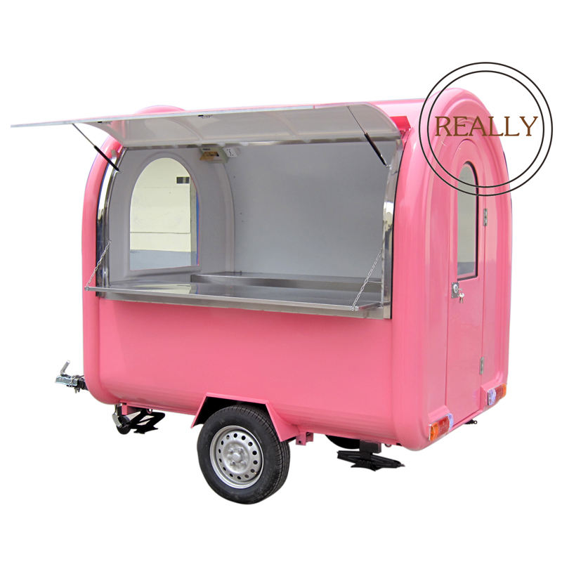 220CM Long Mobile Food Trailer Customized LOGO Kiosk with Stainless Steel Worktable Fruit Snack Cart for Sale