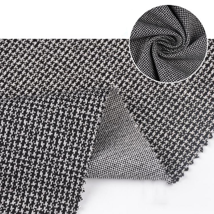 China factory custom TR mini jacquard dobby suiting houndstooth polyester faux woolen fabric
