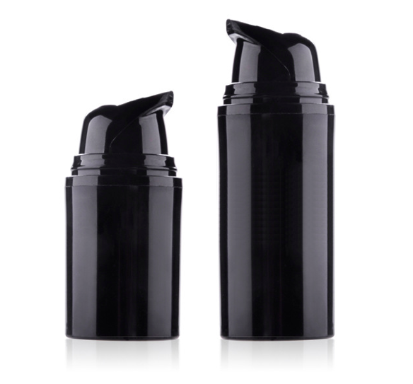 Empty black PP bottle 15ml 30ml 50ml airless pump bottle for lotion