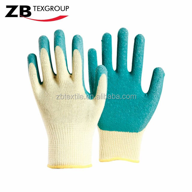 10G wrinkle latex palm coated work gloves heavy duty industrial rubber gloves with CE standard