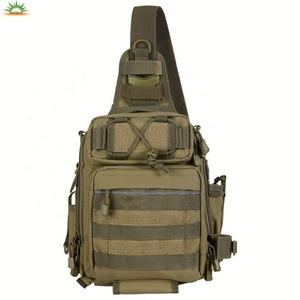 Waterproof Canvas Outdoor Tackle Bag Single Shoulder Sling Crossbody Fishing Tool Bag