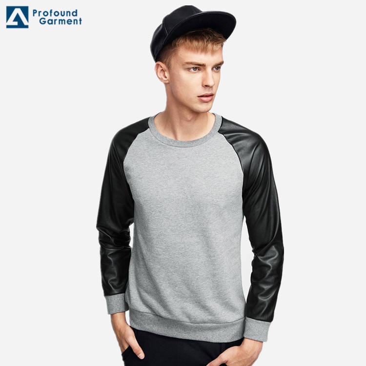 PU Leather Sleeve Pullover Man Fleece Sweatshirt