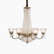 Vintage Empire Crystal Chandelier With Candles, Polished Brass decor hotel