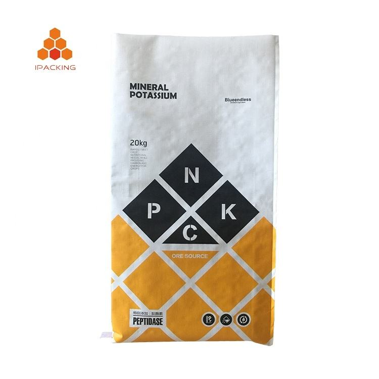 20kg 25kg 50kg custom printing polyethylene recycled fertilizer soil packaging pp woven sack bag
