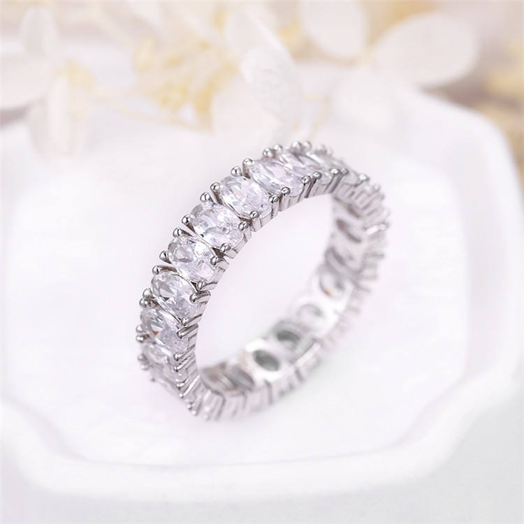 Silver Plating [ Wedding Diamonds Ring ] Rings Wedding Ring Price Sevena Jewelry SAR7390 Fashionable Eternity Women Wedding Gold 18k Silver Diamonds Designs CZ Tennis Ring