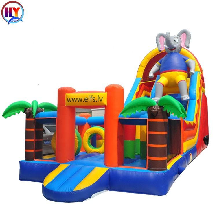 Custom Outdoor Cheap Good Quality Inflatable Jumping Bouncy Castle/Elephant Combo Inflatable Bouncer with slide for sale