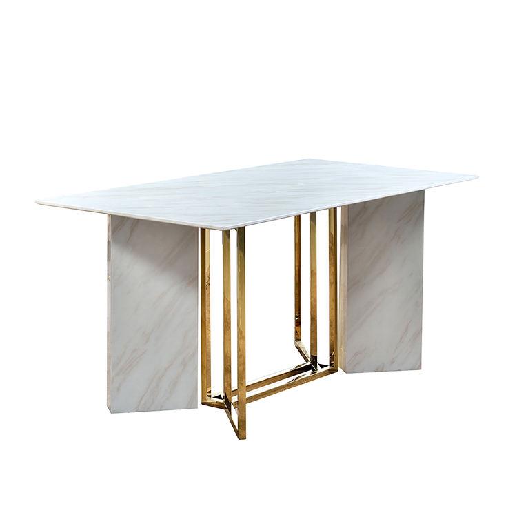 6 местный мрамор топ нержавеющая сталь рамки обеденные столы белый мрамор топ обеденный стол наборы для ухода за кожей