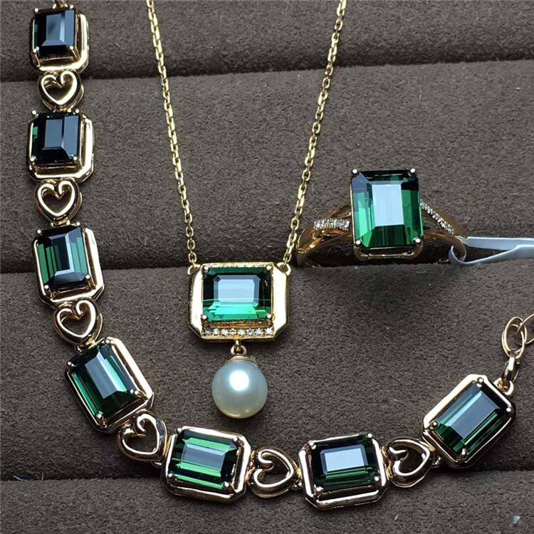 newest design gemston jewelry with diamond 18k gold natural green tourmaline pendant necklace bracelet ring set