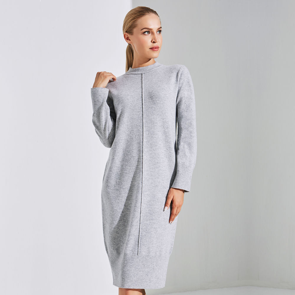 Winter Casual Long Sleeve Cashmere Womens Sweater Dress
