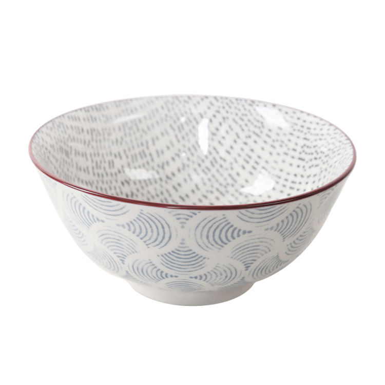 Japanese style 5.5 inch ceramic round printing bowls set