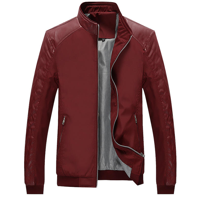 Hot selling Men stitching pu leather patterns fashion 3 colors thin style jacket with wholesale price