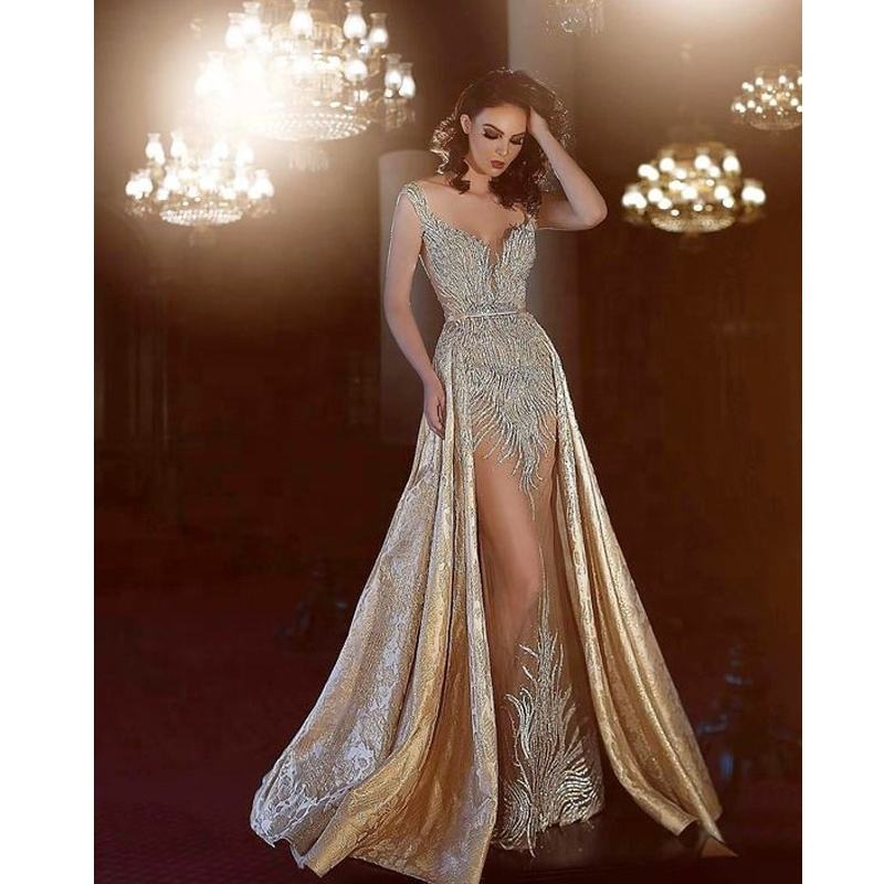 Women Long Champagne Turkish Formal Gowns Prom Evening Dresses