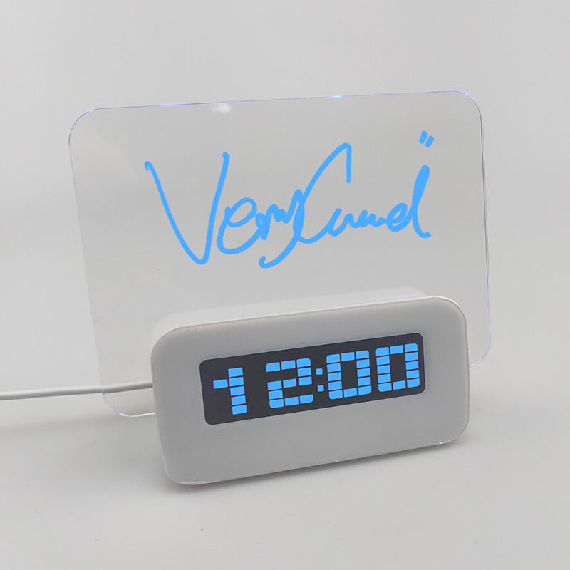 Zogift new luminous Reminder blue light led fluorescent Scribble Writing message memo board digital alarm clock with 4 port usb