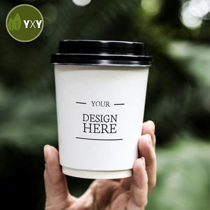 Double Wall Take Away Custom 12oz 14 oz 16 oz Paper Coffee Cup with lid