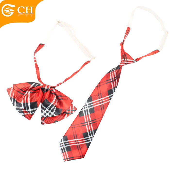 Custom Cheap Striped Pattern Polyester School Elastic Necktie and Bow Tie Set
