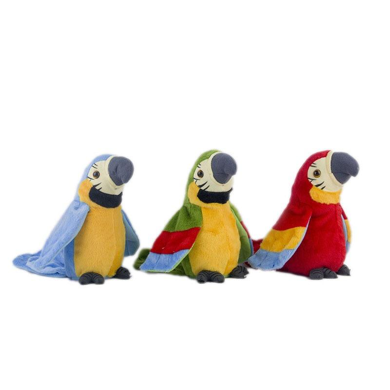 Popular product new style electric recording learn to speak wiggle wings lovely custom stuffed electric parrot stuffed toy