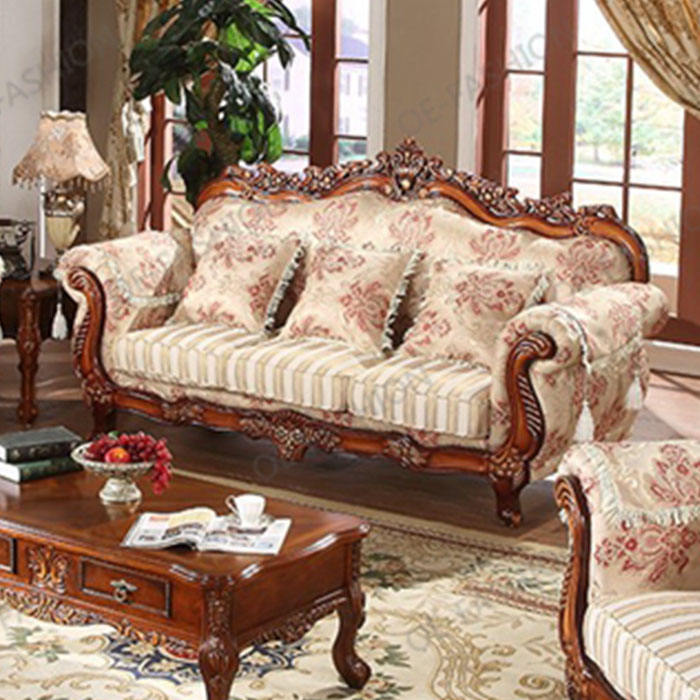 Luxury European Floral Fabric Sofa,wooden carved sofa set furniture