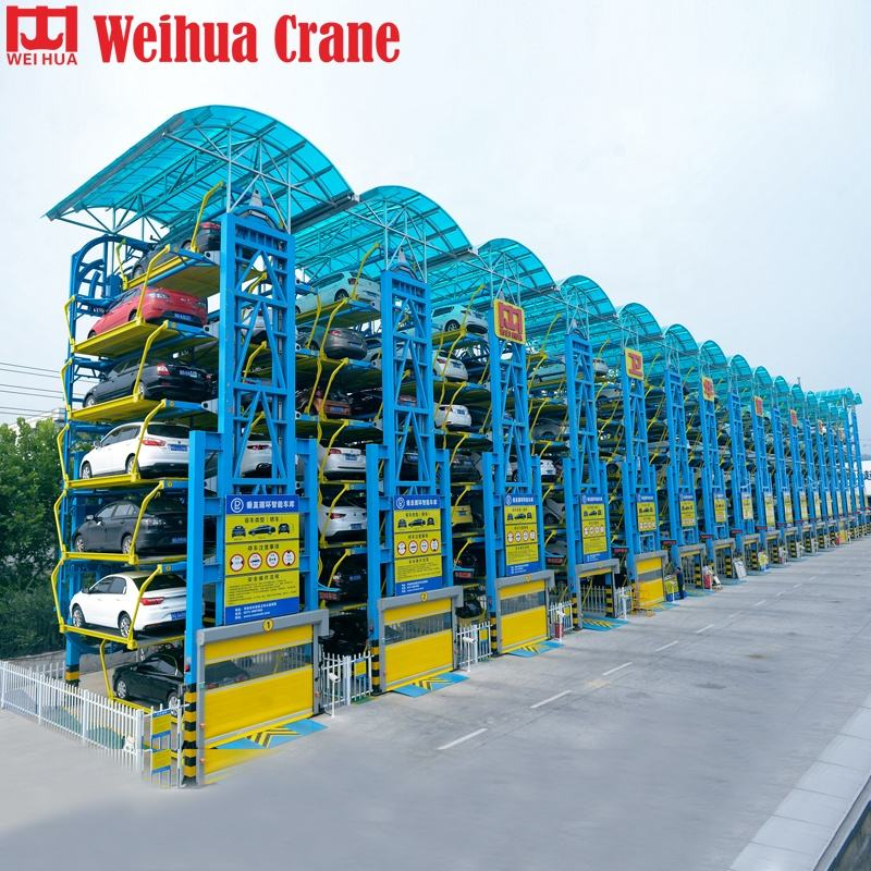 Electric Two 2 Post Tilt 5level 6 Level 7level Vertical Rotary Stack System Car Park And Portable Garage Lift Parking Elevator