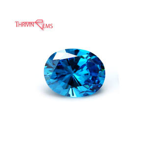 Thriving Gems Loose Gemstone Synthetic Aquamarine Oval Cubic Zirconia Stones