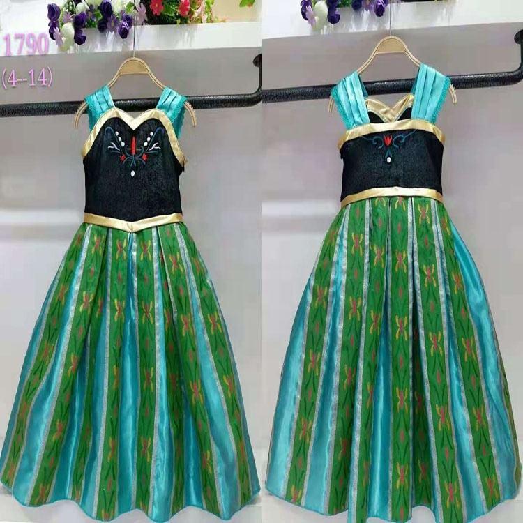 新しいエルザアンナプリンセスドレス冷凍ドレス女の子衣装パーティーファンシー雪の女王