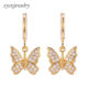 2020 fashion jewelry 18k gold plated cubic zirconia brass drop earrings butterfly earrings