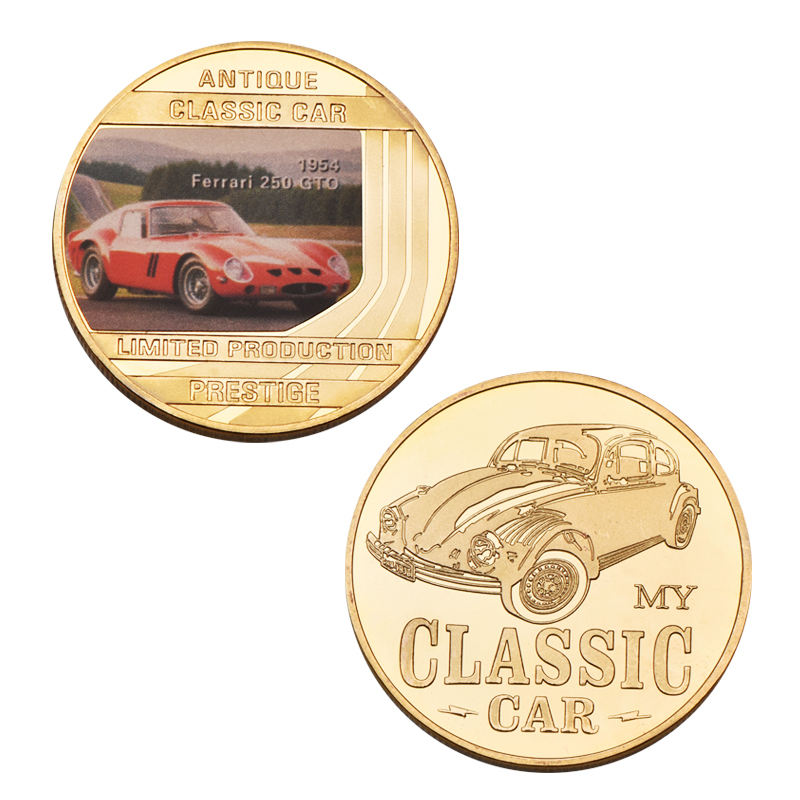 Gold Coin Souvenir Coin Beautiful Antique Classic Car Limited Production Prestige Gold Coin For Commemorate