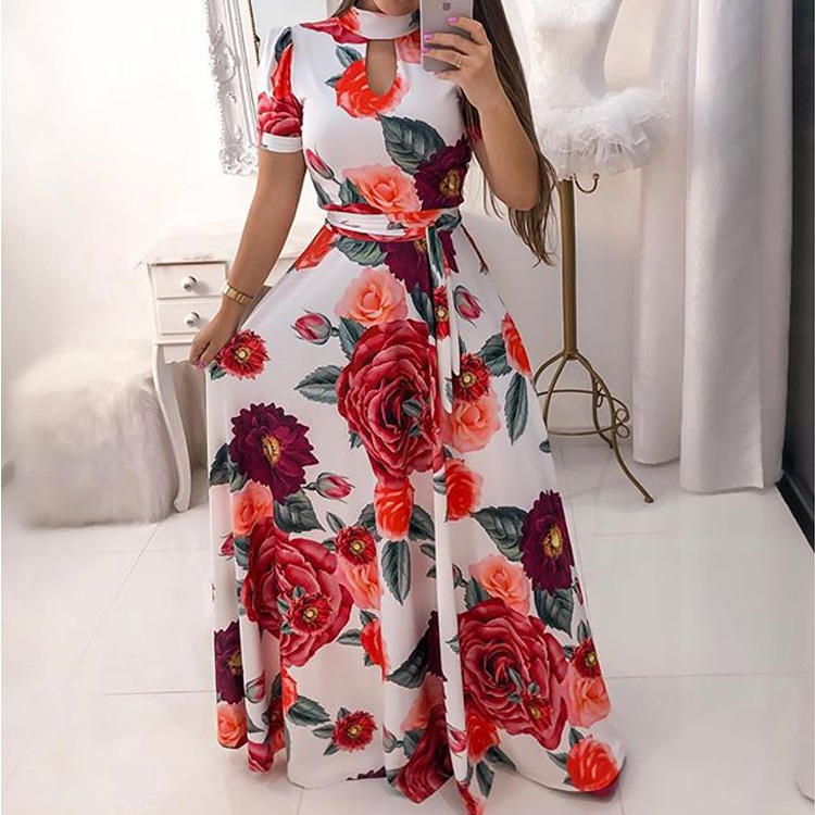 2019 women new sexy fashion chiffon maxi dress , Wholesale simple long dress