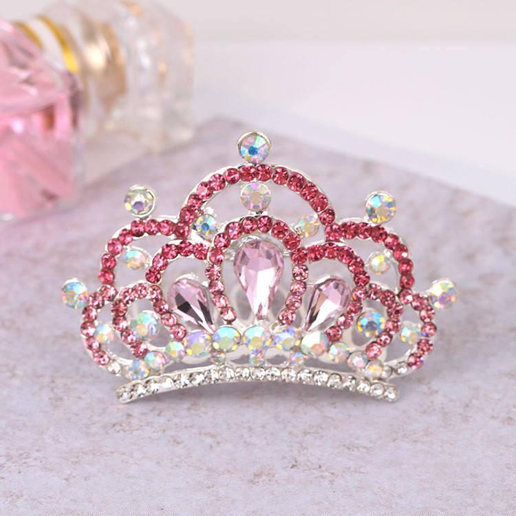 5cm High Kids Flower Girl Full Crystal Party Circle Round Mini Tiara Crown
