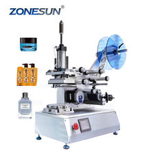 ZONESUN ZS-TB802 Semi Automatic Flat Plastic Tin Can Round Glass Water Milk Juice Bottle Sticker Labeling Machine Labeller
