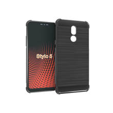 Hot sale Shockproof Brushed line Soft Silicone case phone cover for LG STYLO 5