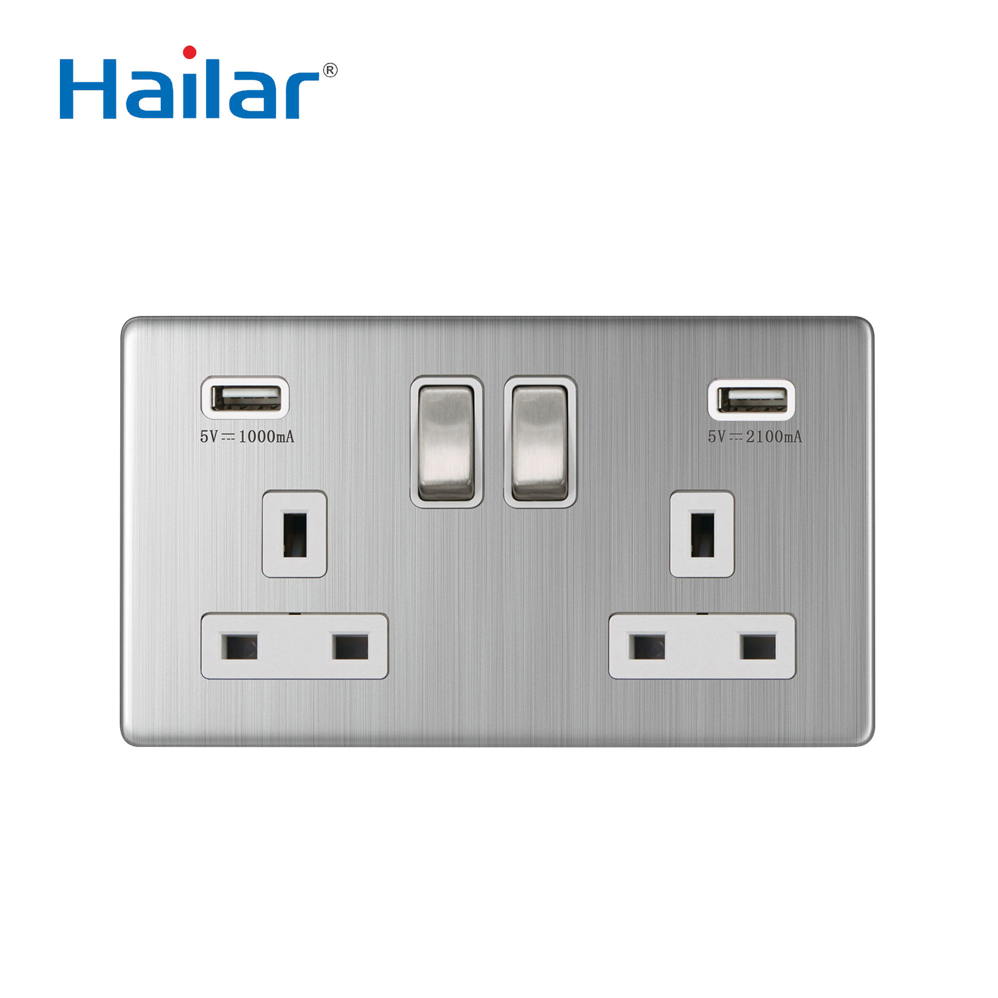 Hailar 2 gang wall switched socket with usb port pole electric UK brushed chrome