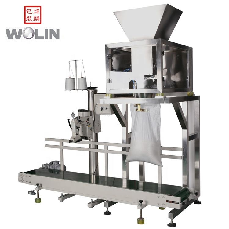 Semi-Automatic one head free drop filling machine with stitching sewing machine sack closer for packing large weight
