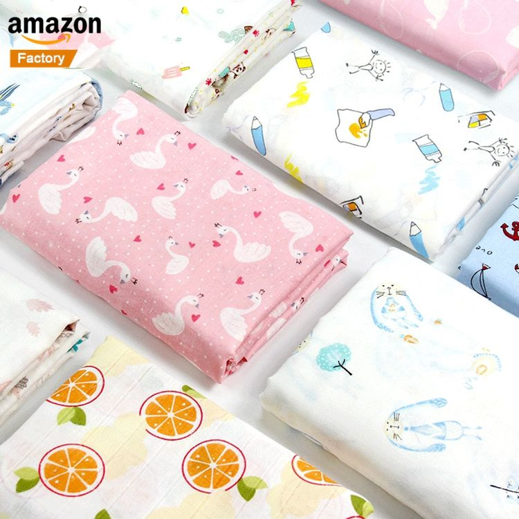 Wholesale Extra Soft Custom Printed Double Layer Gauze 100% Organic Bamboo Cotton Baby Swaddle Blanket Muslin Fabric