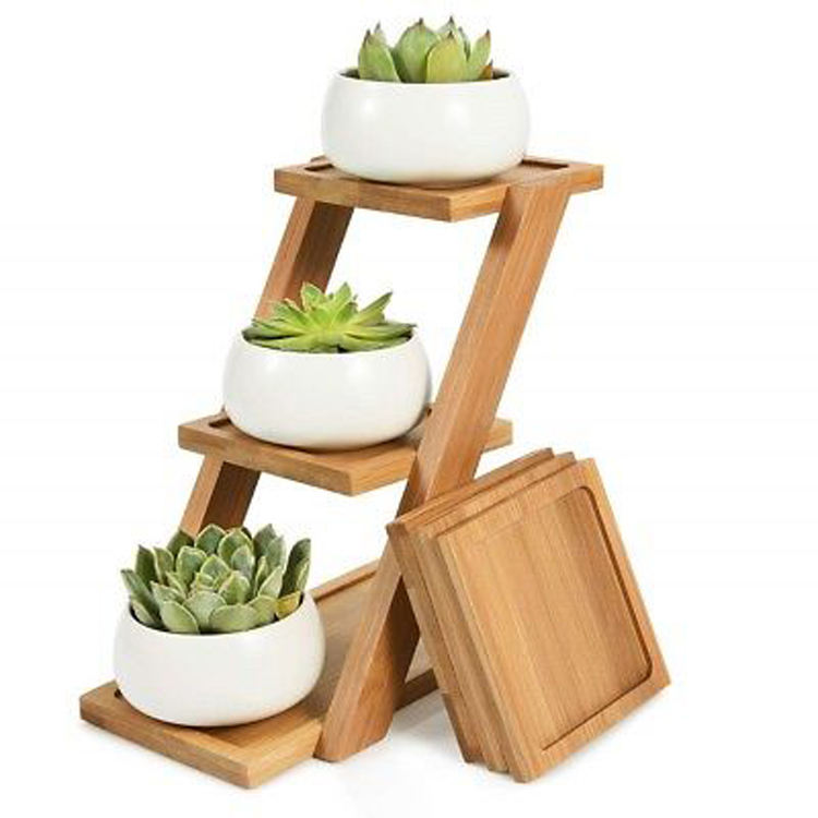 3 Tier Plant Stand Square Bamboo Wooden Tray Stand Cactus Flower Pots Planter Holder