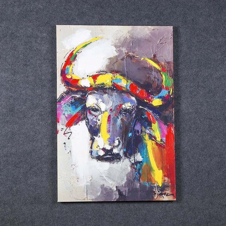 Fabricant Vente Peinture À L'huile Animal Série Buffalo Aquarelle Art Peinture Impression Sur Toile Décoration Murale Pour salon