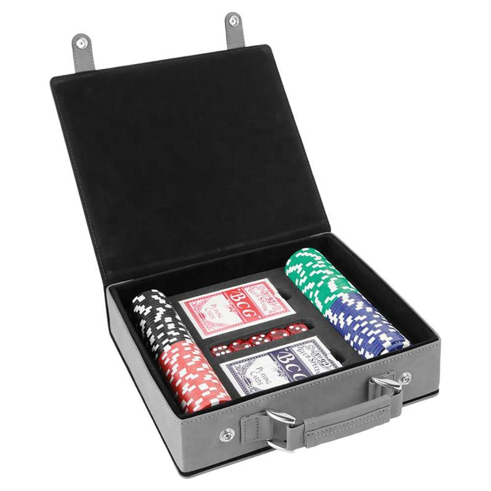 Premium Texas Hold'em Poker Chip Game Set With Cards Leather Case, Gift To Husband ,Poker Player