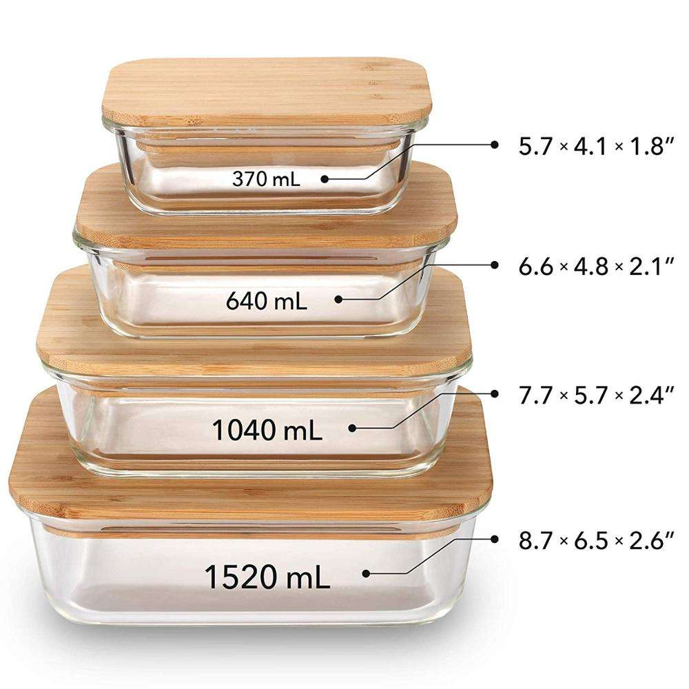 amazon top seller 2019 storage+boxes+ glass lunchbox lunch box with bamboo lid