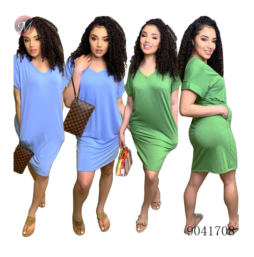 9041708 Women fashion casual solid color short t shirt dress summer