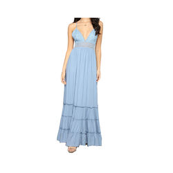 Wholesale custom summer women V neck tie back rayon crochet maxi dress